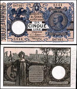 Biglietto-di-Stato-da-5-Lire-10-9-1923-Maltese-Rossolini-quasi-FDS