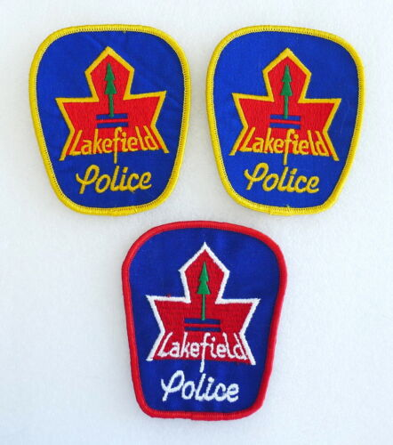 3 PIECE SET - Obsolete Police Patch - LAKEFIELD Ontario Canada - PERFECT LN