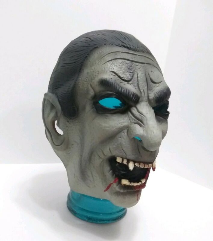 Vtg Latex Rubber Adult Halloween Costume Mask Dracula Vampire Realistic Scary
