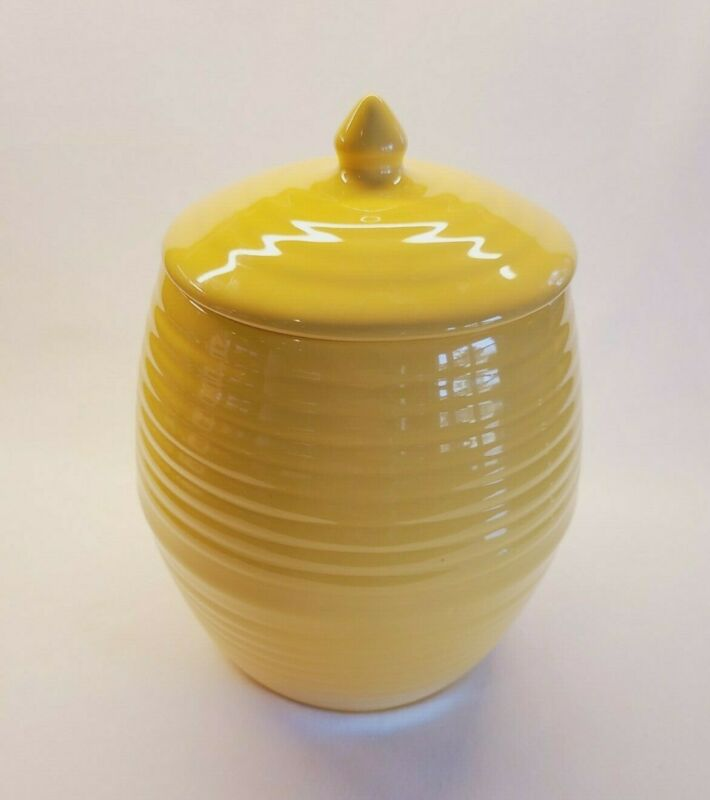 Bauer 2000 Ring Ware Cookie Jar Yellow Glaze Foil Label Post 2000