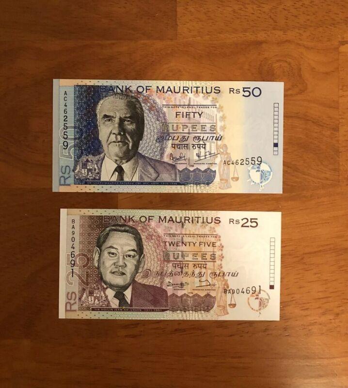Mauritius 1998 25 Rupees + 50 Rupees P-42/P-43> UNC