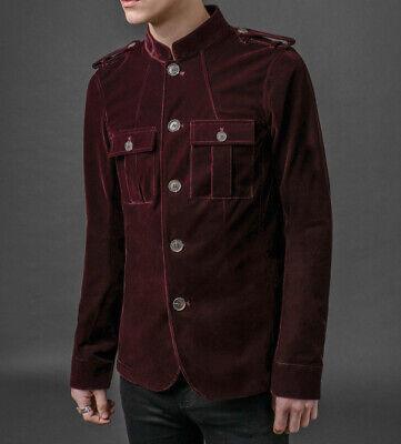 Mens Vintage Style Burgundy Velvet 60s Hendrix Lennon Retro Mod Jacket 1962 (Mens 60s Style)