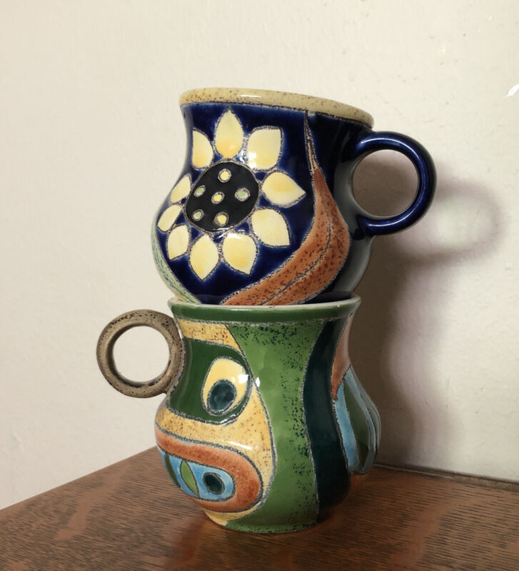 Two Cups Artesa Ecuador Vega Hand Painted Pottery Cubism Floral Design Mugs