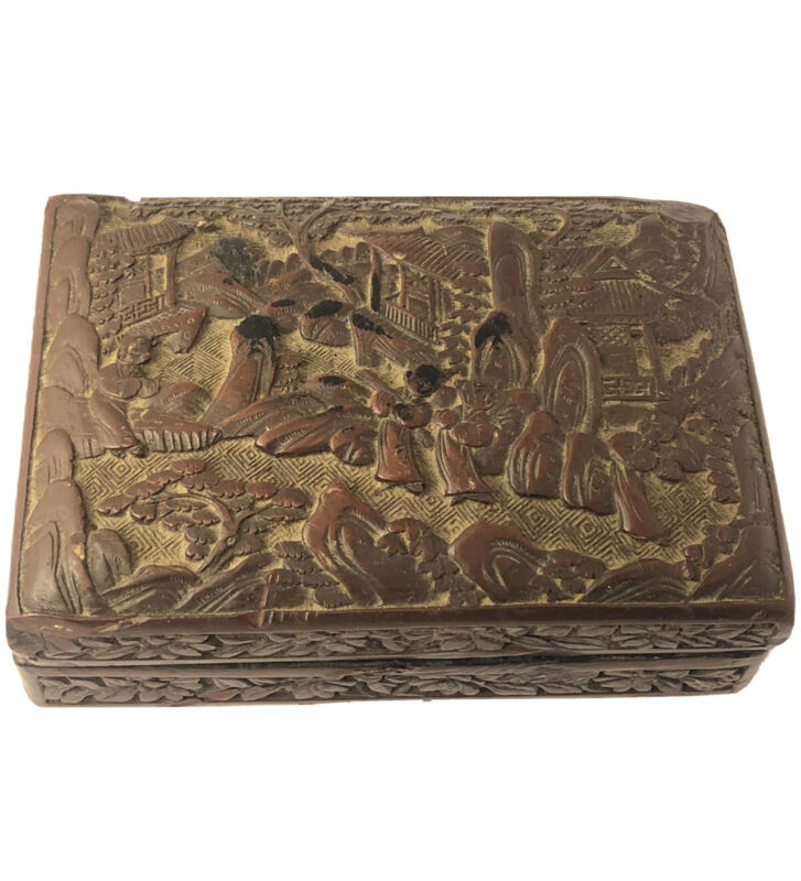 Old Chinese export brown cinnabar relief carved scene trinket box JL 020121aE@