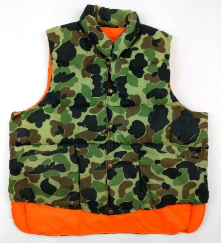 Vintage Black Sheep Reversible Hunting Vest Woodland Camo Hunters Orange Size XL