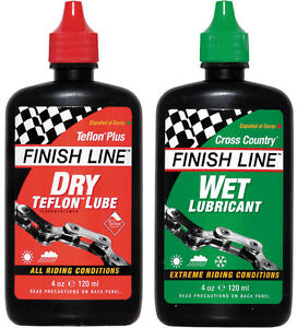 Finish-Line-Dry-and-Wet-Bike-Bicycle-Cycle-Chain-Lube-Oil-4oz-120ml-x2