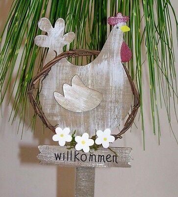 """Trendy Holz Huhn Gartenstecker """" Willkommen """" 50 cm Dekoposten Preishit 5450"""
