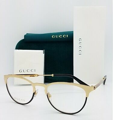 NEW Gucci RX Frame Glasses Gold Black Metal GG0134O 001 52mm AUTHENTIC (Gucci Round Frame Glasses)