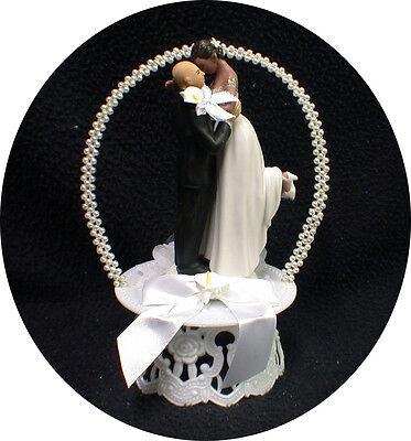Calla lily Bald Groom Wedding Cake Topper PICK Caucasian or African Black Bride