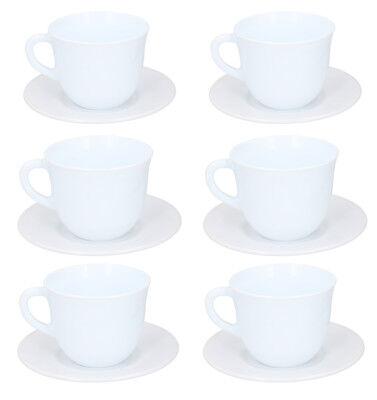 Set of 6 White Cup & Saucer Ceramic Tea Set Coffee Set ...