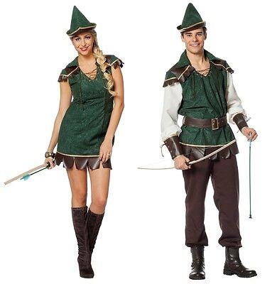Robin Hood Peter Pan Jäger Girl Kostüm Kleid Mittelalter Damen Herren Bogen (Peter Pan Damen Kostüme)