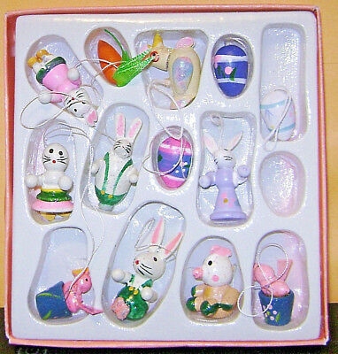 EASTER TREE ORNAMENTS Bunny Rabbits Eggs Chicks  Lot of 13