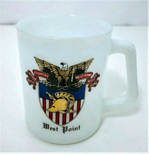 West Point Military Academy Milk Glass Mug Federal Glass Vintage Coffee Cup