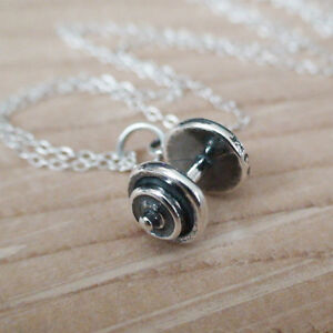 Dumbbell Charm Necklace - 925 Sterling Silver - *NEW* Weights Gym Jewelry