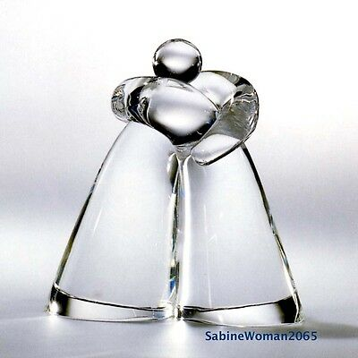 NEW in BOX STEUBEN art glass KISS crystal Klimt paperweight ornament I heart U