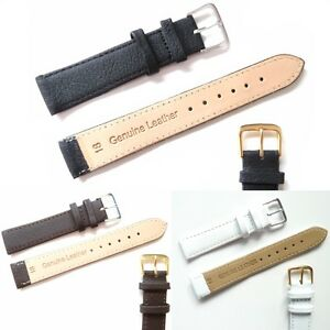 Black-Brown-White-High-Quality-Genuine-Soft-Leather-Watch-Band-Strap-6mm-24mm