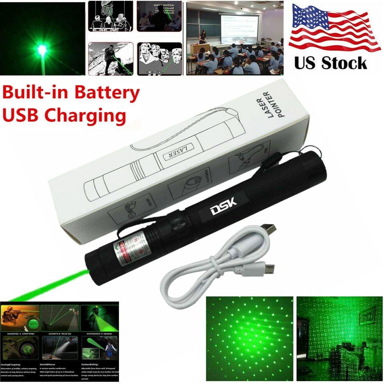 900Miles 2in1 Green Laser Pointer Pen Star Beam Light USB Rechargeable Lazer Pen