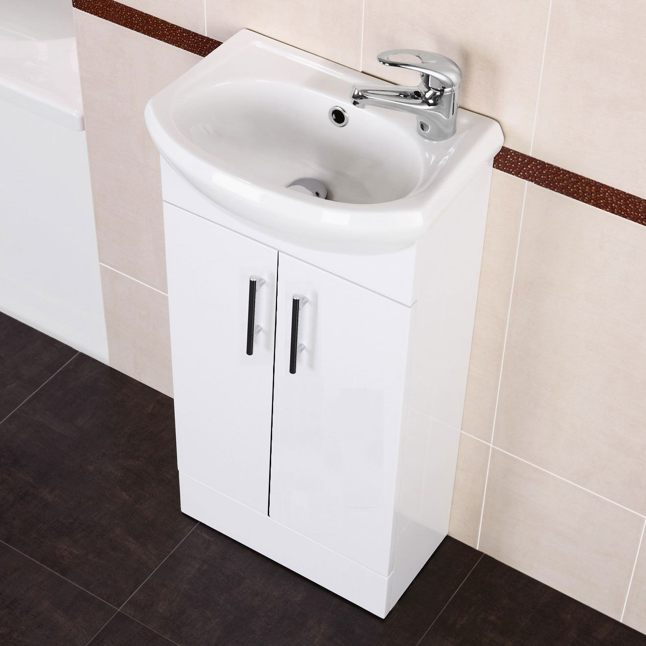white small compact basin vanity unit bathroom cloakroom. Black Bedroom Furniture Sets. Home Design Ideas