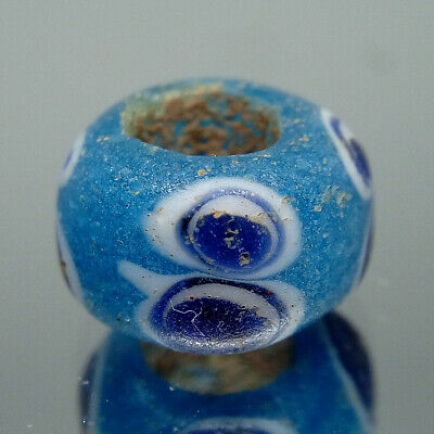 Large Hole Beautiful Deep Cobalt Molded Glass Trade Beads Scallop Design Stringing and Beading Supplies Boho Chic