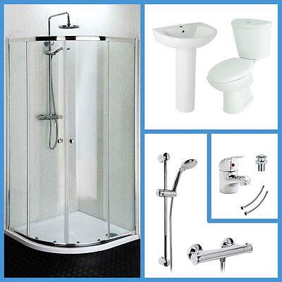 800mm Quadrant Shower Enclosure WC & Basin Bathroom Suite Set with Tap & Shower