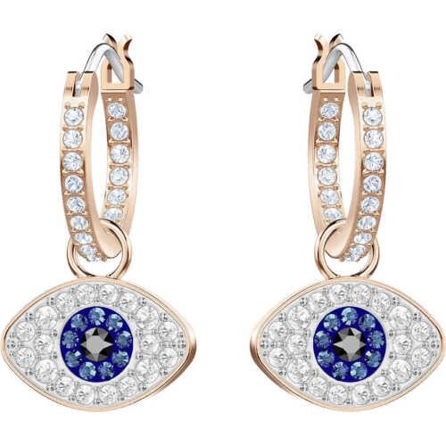 Swarovski Crystal DUO EVIL EYE  Hoop Pierced Earrings 5425857