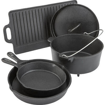 Pre Seasoned 5 Piece Cookware Set Cast Iron Dutch Skillets Pans Griddle -
