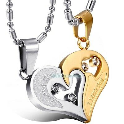Stainless Steel I Love You Matching Hearts Couples Pendant Necklace Gold Silver