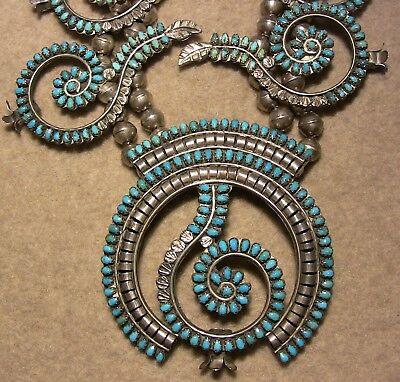 RARE Zuni 1940s Petit Point squash blossom SET - BERG COLLECTION w/ necklace...