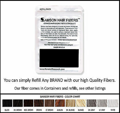 Samson Best Hair Loss Concealer Building Fibers BLACK 100g XL Refill Made USA (Best Hair Fiber Powder)