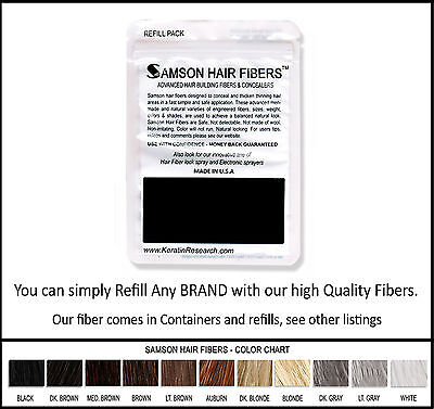 Samson Best Hair Loss Concealer Building Fibers BLACK 25g Refill Made In USA