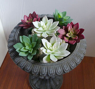 Set of 6 Artificial Lotus Flower Succulent Plants Home Garden Decoration