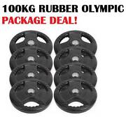 BRAND NEW 100KG RUBBER OLYMPIC WEIGHT PLATES PACKAGE Wangara Wanneroo Area Preview