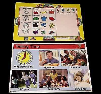 (Lot 2 Educational EARLY LEARNING Placemats NEW Time WIPE OFF Activity MATS)