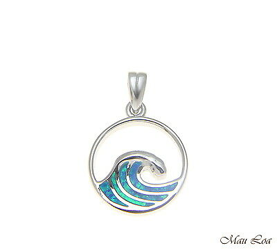 - 925 Sterling Silver Rhodium Hawaiian 15mm Ocean Wave Blue Opal Pendant Charm