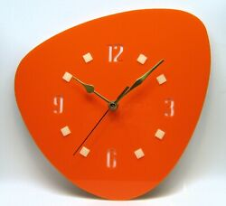 New Handmade 1950's Style wall clock 02, mid century, orange clock, retro, USA