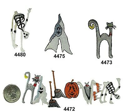 Halloween Cat,Ghost,Skull/Skelton,Bat,Pumpkin Embroidery Iron On Applique - Halloween Embroidery Appliques