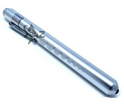 Silver Reusable Nurse Aluminum Penlight Pocket Medical Led With Pupil Gauge