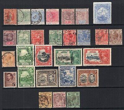 Grenada QV-GVI Most Used Selection 28 Stamps CV$100+