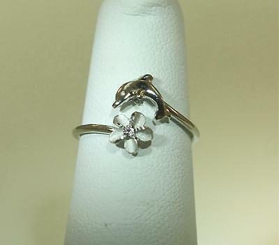 (8MM WHITE GOLD PLATED 925 STER SILVER 2-IN-1 DOLPHIN PLUMERIA ADJUSTABLE CZ RING)