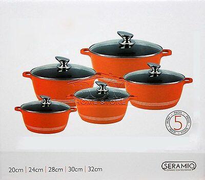 5pc Ceramic Coated Non Stick Die-Cast Casserole Set INDUCTION Cookware ORANGE SH Non Stick Cast