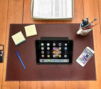 Desk Pad Protector 16x24 Wleather Feels Smooth And Sturdy Dark Brown Color