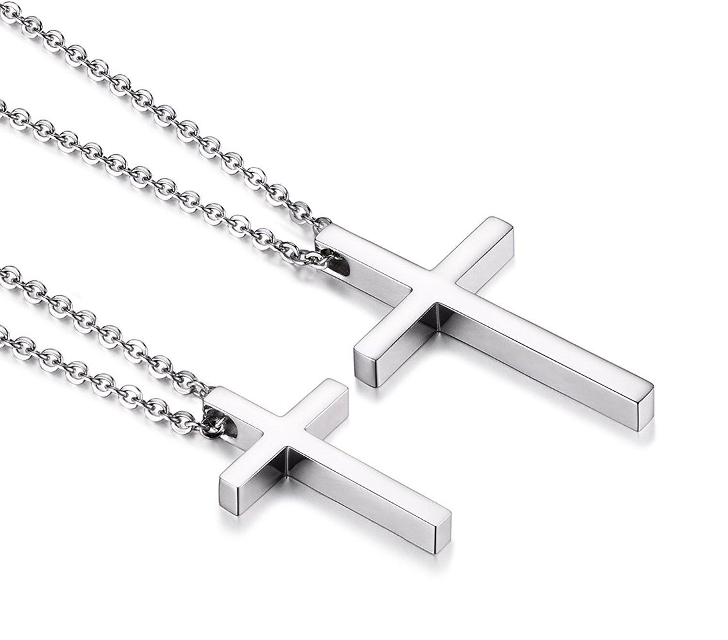 Simple Stainless Steel Silver Cross Pendant Necklace for Men