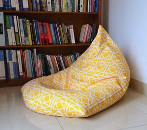WATERPROOF OUTDOOR BEAN BAG Cover, Yellow Geometric Pattern UV/Mould Resistant