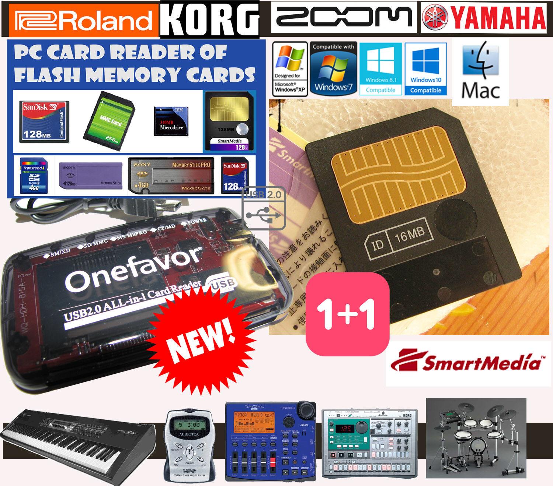 16MB SMARTMEDIA CARD+Memory Reader LETTORE-KORG-YAMAHA-ROLAND BOSS-AudiovoX-Zoom