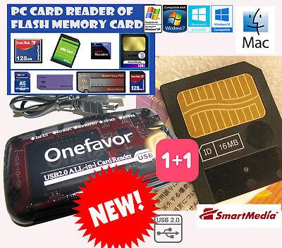 LETTORE PC+SMARTMEDIA CARD 16MB-Reader+LargeBox-KORG-YAMAHA-ROLAND BOSS-AudiovoX usato  Genova