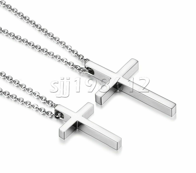 Simple Men Women Stainless Steel Silver Cross Pendant Neckla
