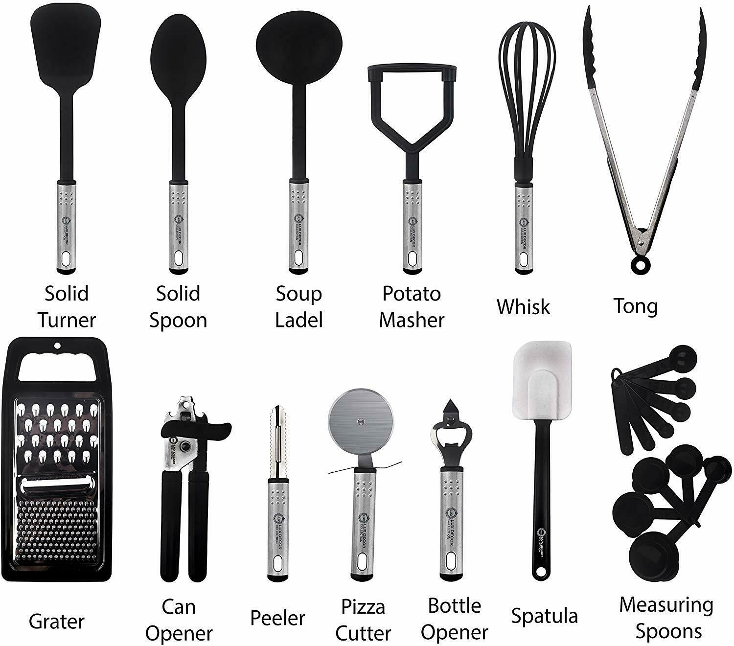 Kitchen Utensils Set 23 Piece Nylon Cooking Tools Utensils Stainless Steel Set