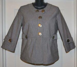 Calvin-Klein-Womens-Black-Textured-Button-Front-Shirt-Top-Sz-4