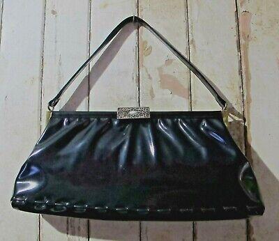 1950s Handbags, Purses, and Evening Bag Styles HANDBAG Black Faux Patent Leather BAG 50s Vintage Top handle Purse Mad Men Chic $48.64 AT vintagedancer.com