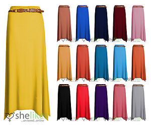 Womens-Gypsy-Long-Jersey-Ladies-Belted-Maxi-Dress-Skirt